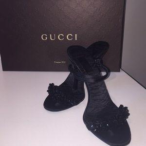 Authentic Gucci - Black Satin Sandals w/ jewel toe